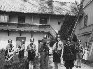 Feuerwehr-HJ bei der Übung, 1939