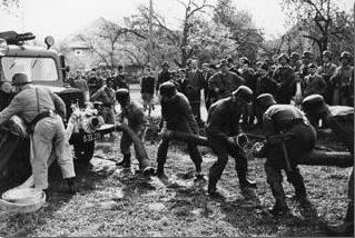 Übung mit der Vorbaupumpe, 1950